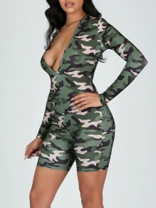 Green Camouflage Print V-neck Long Sleeve Pajama Short Jumpsuit