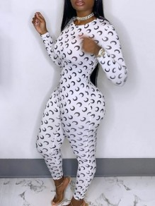 White Moon Print Round Neck Long Sleeve Bodysuit Long Jumpsuit