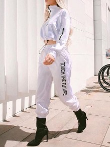 White TOUCH THE FUTURE Letter Print Zipper Casual Two Piece Sport Sets Jumpsuit
