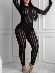 Black Patchwork Striped Fishnet Round Neck Long Sleeve Sheer Bodysuit Long Jumpsuit With Gloves