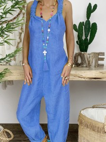 Light Blue Oversize Backless High Waisted Fashion Long Overall Pants