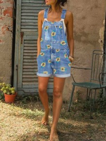 Light Blue Pockets Sunflower Print Shoulder-Strap Square Neck Denim Overall Short Dungarees Jumpsuit