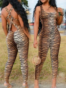 Leopard Print Spaghetti Strap Bodycon Backless Bodycon Party High Waisted Long Jumpsuit