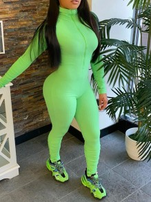 Green Lucky Label Zipper High Neck Long Sleeve Bodysuit Sports Long Jumpsuit With Gloves