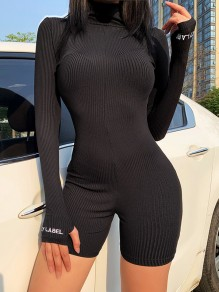 "Black ""LUCKY LABEL"" Letter Print Zipper Band Collar Long Sleeve Bodysuit Short Jumpsuit With Gloves"