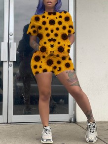 Yellow Sunflower Print Round Neck Short Sleeve Casual Short Jumpsuit