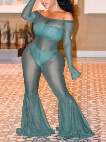 Green Patchwork Grenadine Off Shoulder Sheer Bodycon Plus Size Party Bell Bottomed Flares High Waisted Long Jumpsuit