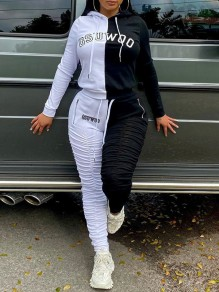 Black-White Letter Print Hooded Long Sleeve Two Piece Drawstring Waist Stacked Sports Long Jumpsuit
