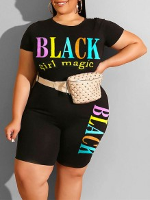 "Black ""BLACK GIRL MAGIC"" Print Round Neck Short Sleeve Plus Size Short Jumpsuit"