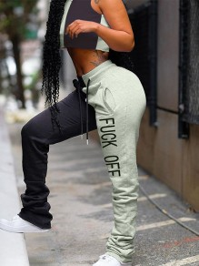 "Grey-Black ""FUCK OFF"" Print Pockets V-neck Sleeveless Crop Drawstring Waist Long Stacked Legging Jumpsuit"