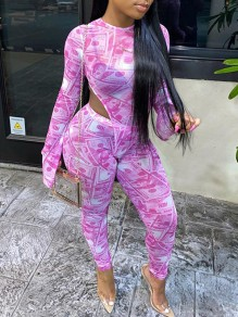 Pink Dollar Bill Print Grenadine Round Neck Flare Long Sleeve Sheer Bodysuit Long Jumpsuit