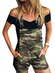 Green Camouflage Print Shoulder-Strap Pockets Square Neck Denim Short Dungarees Jumpsuit