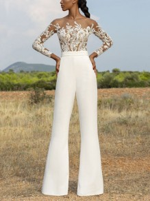 White Patchwork Grenadine Lace Embroidered Long Sleeve Flare Bell Bottom Long Jumpsuit