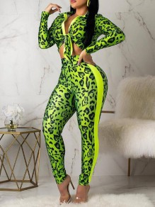 Neon Green Camouflage Pattern High Waisted Turndown Collar Bodycon Two Piece Long Jumpsuit