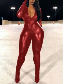 Rose Red Zipper Pattern Print Schnalle Gürtel Band Kragen Langarm Body PU Leder Vinyl Long Jumpsuit