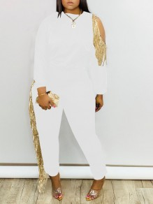 White Sequin Tassel Cut Out Round Neck Long Sleeve Long Jumpsuit