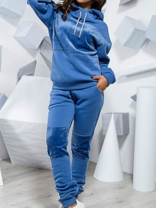 Blue Patchwork Pockets Hooded Long Sleeve Fashion Long Jumpsuit