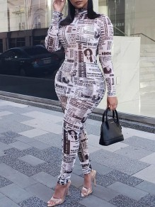 White Newspaper Print High Neck Long Sleeve Two Piece Bodysuit Long Jumpsuit