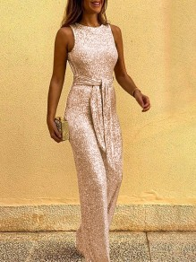 Champagne Sequin Belt Round Neck Sleeveless Wide Leg Palazzo Pants Work Long Jumpsuit