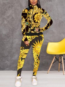 Yellow Chain Sunflower Pattern Band Collar Casual Two Piece Long Jumpsuit