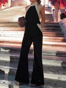 Black-Silver Sequin Pockets Halter Neck Flare Bell Bottom Sparkly NYE Banquet Party Long Jumpsuit