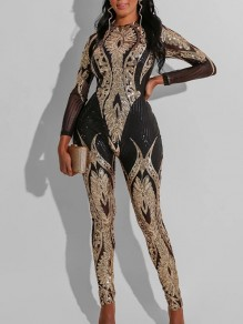 Golden Grenadine Sequin Bedazzled Print Round Neck Long Sleeve Bodysuit Long Jumpsuit