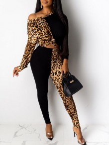 Black Patchwork Leopard Pattern One-Shoulder Two Piece Long Jumpsuit