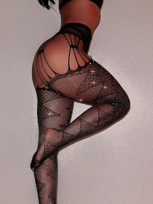 Black Geometric Rhinestone Cut Out Fishnet Mesh Sparkly High Waisted Legging