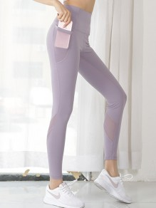 Legging poches push up big booty sports violet