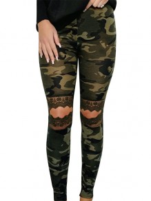Green Patchwork Lace Camouflage Print Knee Ripped High Waisted Long Legging