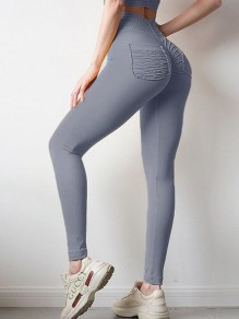 Grey Pockets Pleated Elastic Waist High Waisted Long Legging