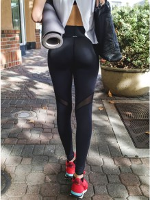 Schwarz Mesh Transparent Hohe Taille Push Up Lange Schlank Fitness Sports Leggings Damen Yoga Jogginghose Günstig