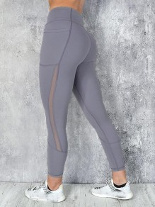 Legging poches grenadine taille haute long gris clair