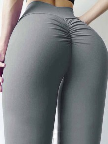 Grey Pleated High Waisted Skinny Fashion Long Legging