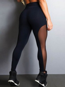 Black Patchwork Grenadine High Waisted Fashion Nine's Legging