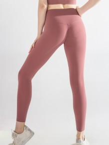 Legging yoga sport skinny taille haute long rose