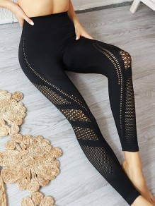 Cichic Schwarz Cut Out Fitness Yoga Schlank Push Up Lange Leggings Mit Netz Günstig Damen Mode