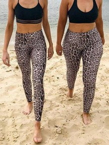 Braun Leopard Print High Waisted Fitness Yoga Schlank Push Up Lange Leggings Günstig Damen Mode