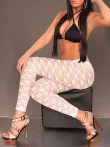 White Patchwork Lace Grenadine High Waisted Sheer Long Legging