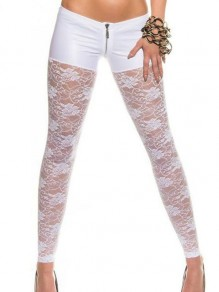 White Patchwork Lace Cut Out PU Leather Sheer Long Legging