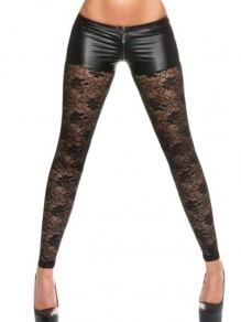 Black Patchwork Lace Cut Out PU Leather Sheer Long Legging