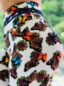 White Colorful Butterfly Print High Waisted Push Up Sports Yoga Long Legging