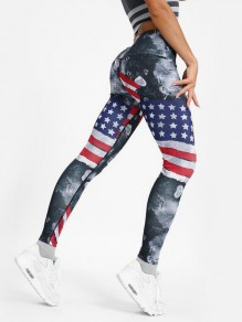 Grey American Flag Pattern High Waisted Yoga Sports Long Legging