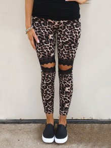 Brown Leopard Lace High Waisted Fashion Long Legging