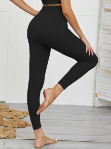Schwarz High Waisted Skinny Push Up Beiläufige Yoga Lange Leggings Damen Mode