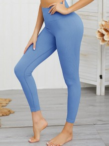 Dunkelblau High Waisted Skinny Push Up Beiläufige Yoga Lange Leggings Damen Mode