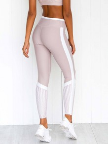 Weiß Patchwork Mesh Gestreift High Waisted Fitness Yoga Schlank Push Up Training Leggings Damen Mode