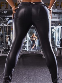 Pantalon longue en simili cuir push up fitness mode femme leggings noir