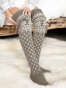 Grey Snowflake Pattern Christmas Santa Print Knitwear Cute Legging