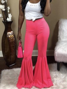 Pink Draped High Waisted Extreme Flare Bell Bottom Vintage Long Pants